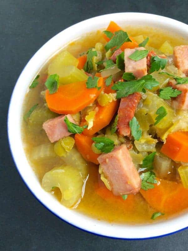 Slow Cooker Split Pea Soup with Ham and Chorizo - The Lemon Bowl