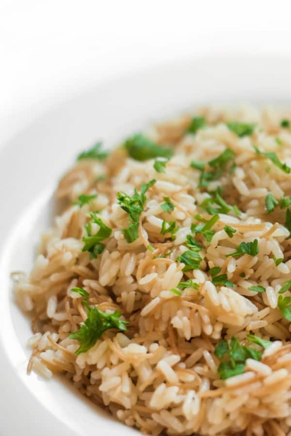 Lebanese Rice Pilaf With Vermicelli -A staple in Middle Eastern cuisine, Lebanese Rice Pilaf is made with vermicelli noodles toasted in clarified (rendered) butter.
