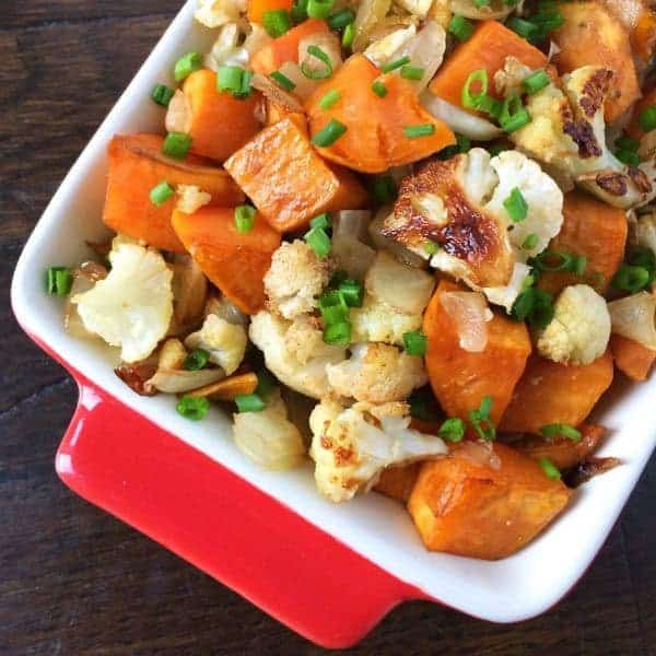 Balsamic Roasted Cauliflower, Sweet Potatoes and Onions - The Lemon Bowl