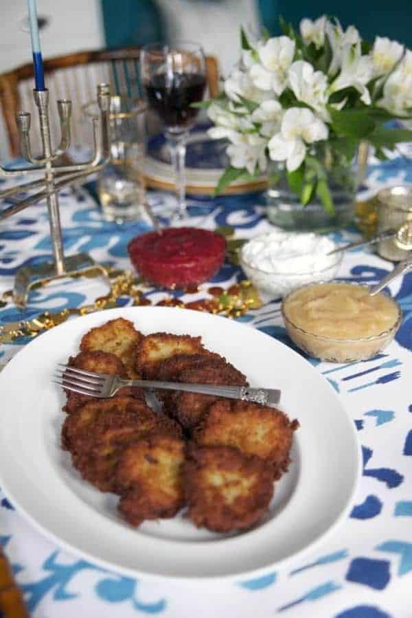 Potato Latkes with Apple Cranberry Sauce - The Lemon Bowl
