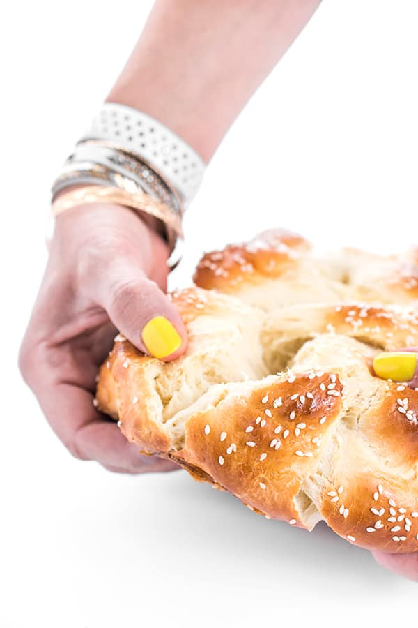 challah being pulled apart