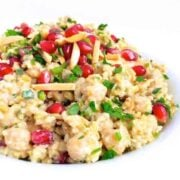 Freekeh with Tahini, Chickpeas and Pomegranate - The Lemon Bowl