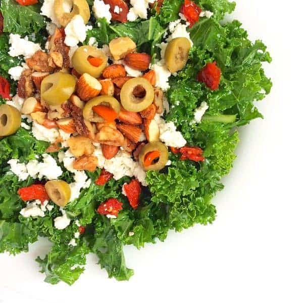Kale Salad with Olives, Nuts and Feta - The Lemon Bowl