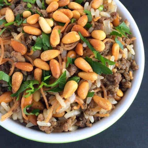 Lebanese Hushwee Rice with Pine Nuts - The Lemon Bowl