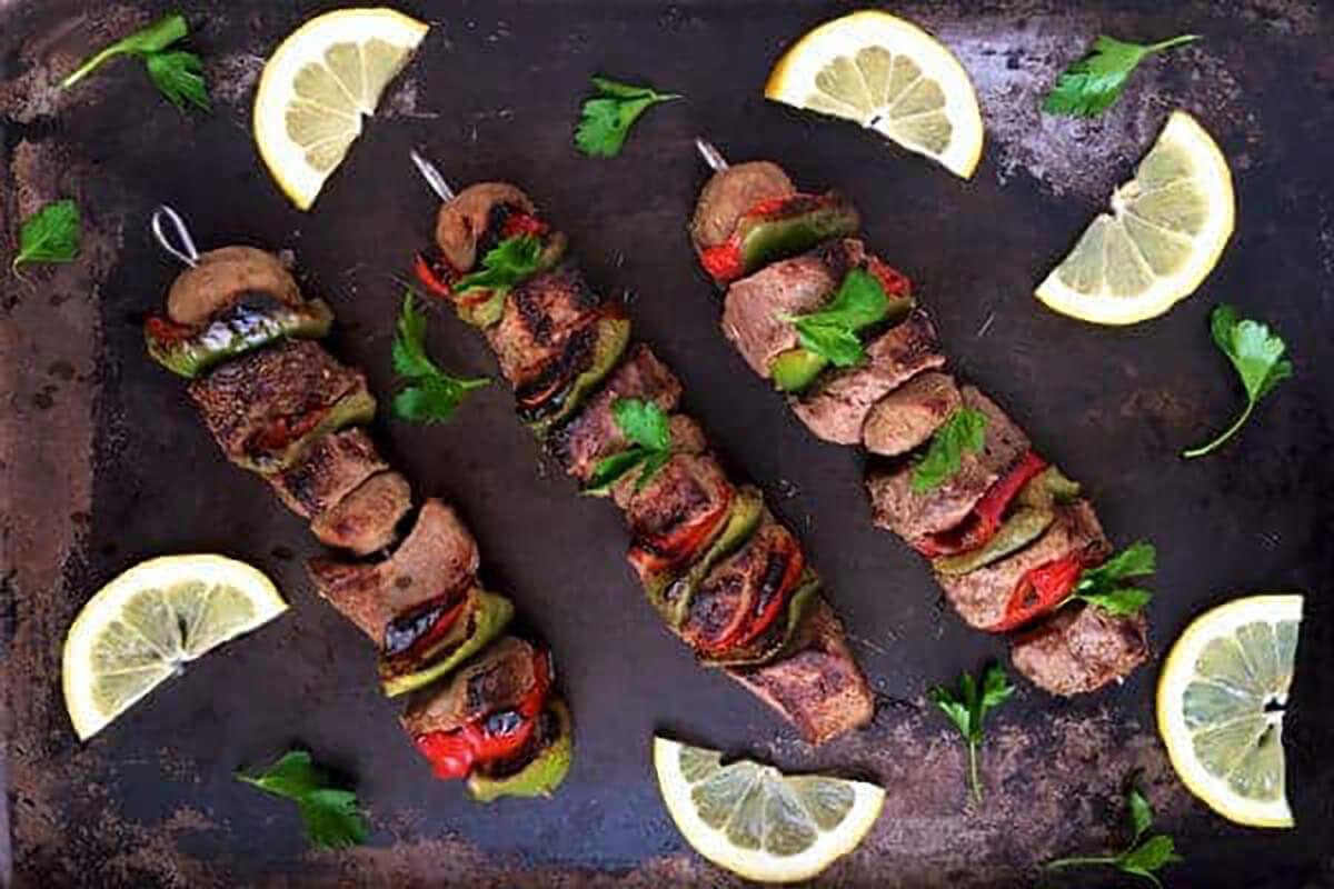 Greek Beef Kabobs on three skewers