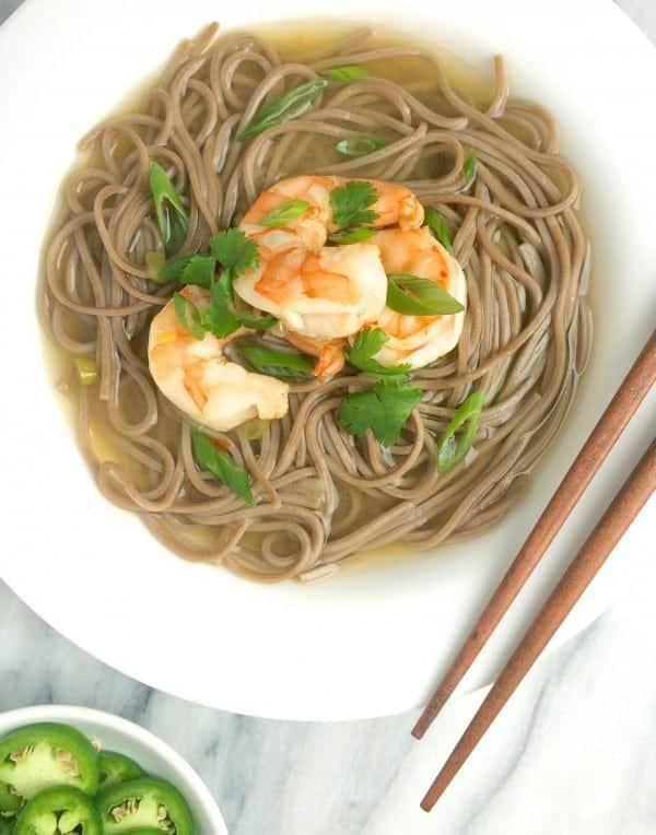 Shrimp Soba Noodles in Ginger Broth by The Lemon Bowl