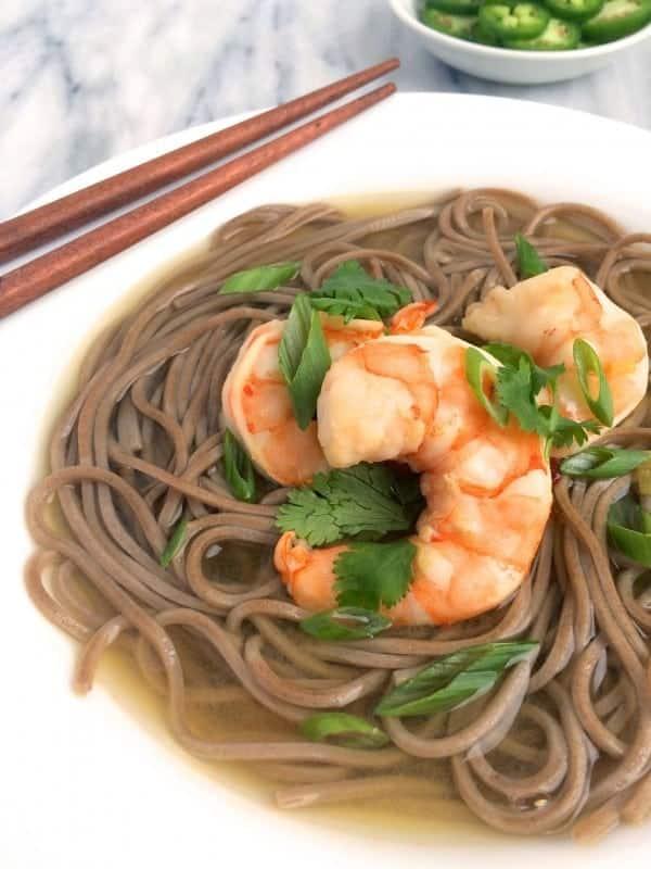 Shrimp and Soba Noodles in Ginger Broth - The Lemon Bowl