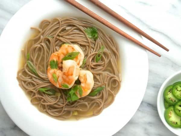 Soba Noodles with Shrimp in Gingered Broth - The Lemon Bowl