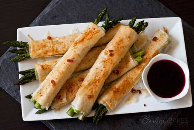 Asparagus-Wrapped-with-Parmesan-Bacon-Phyllo-Plated-2-Barbara-Bakes