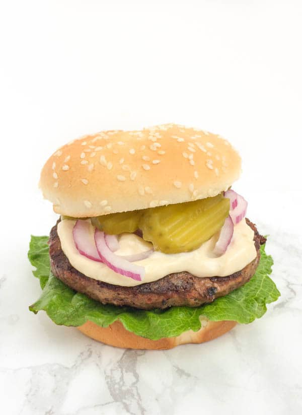 Beef Burgers with Tahini Mayo - The Lemon Bowl
