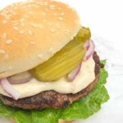 Beef Tenderloin Burgers with Tahini Mayo - The Lemon Bowl