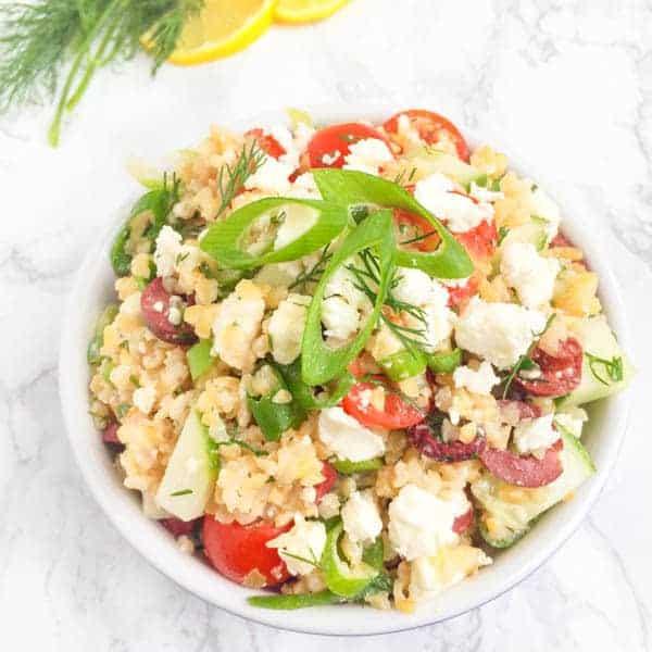 Bulgur Wheat Greek Salad with Lemon Dill Vinaigrette - The Lemon Bowl