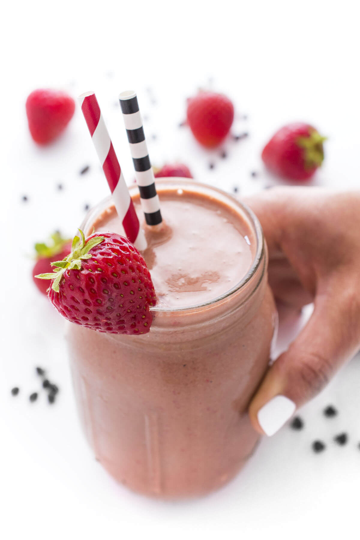 Chocolate and Strawberry smoothie in a glass