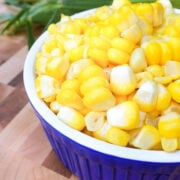 sweet corn on the cob in a bowl
