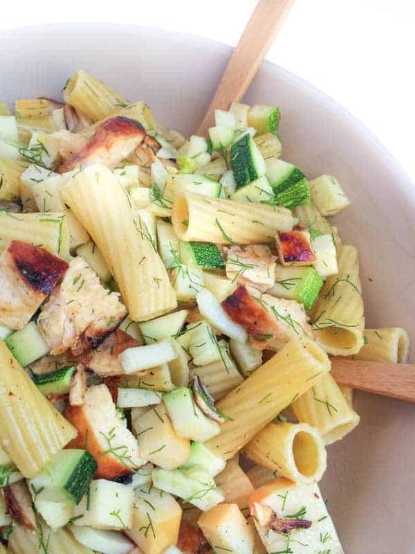 Grilled Chicken Pasta Salad with Smoked Mozzarella - The Lemon Bowl