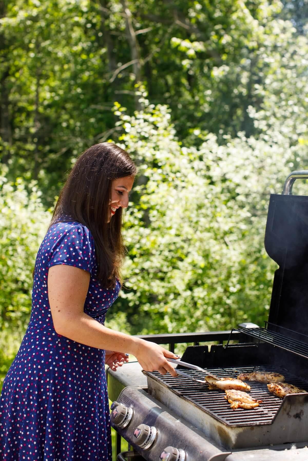 Liz grilling Honey Chipotle Grilled Chicken