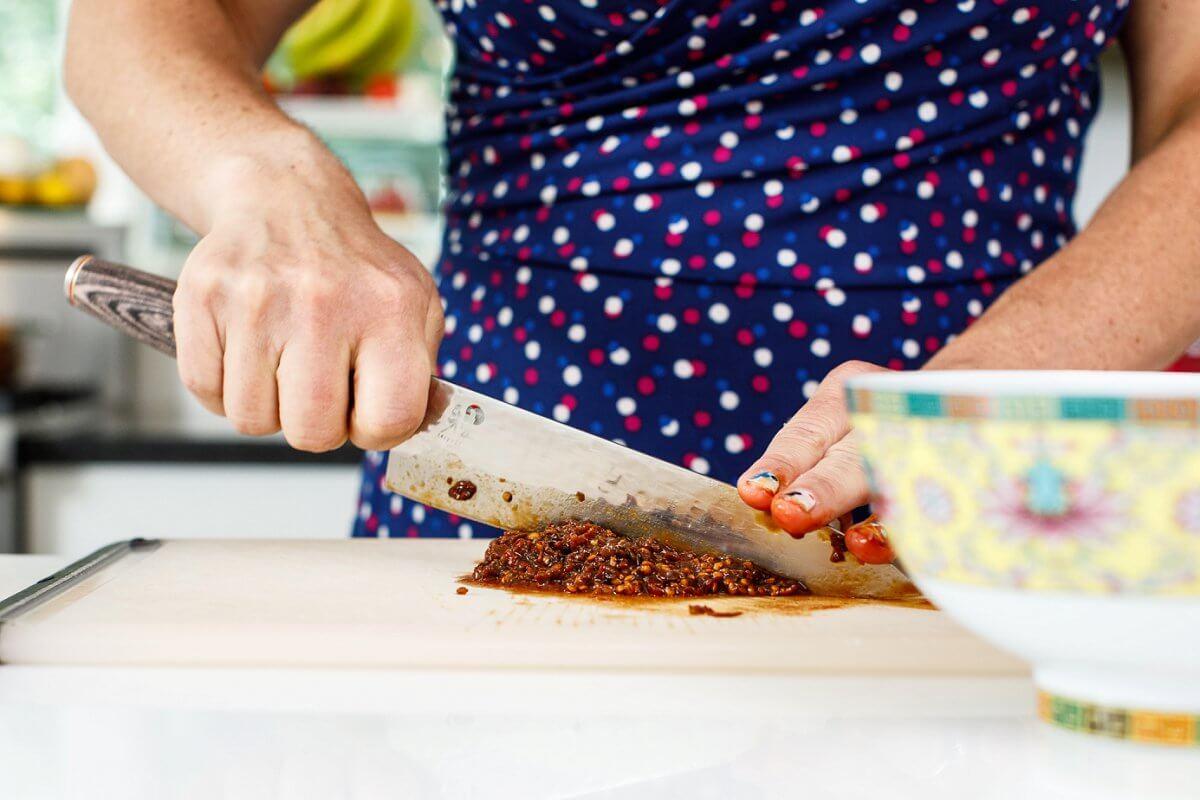 Liz cutting chipotle