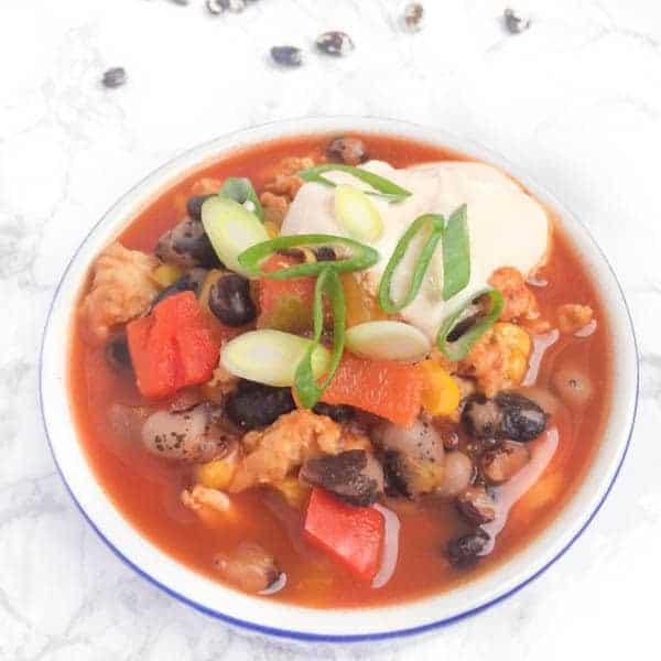Turkey Bean Chili with Sriracha Yogurt - The Lemon Bowl