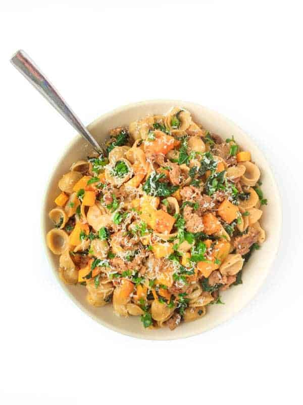 Butternut Squash, Kale and Sausage Pasta - The Lemon Bowl
