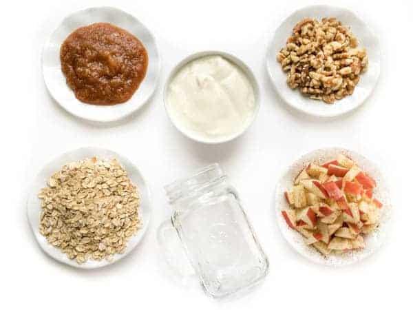 Overnight Apple Pie Oatmeal Ingredients - The Lemon Bowl