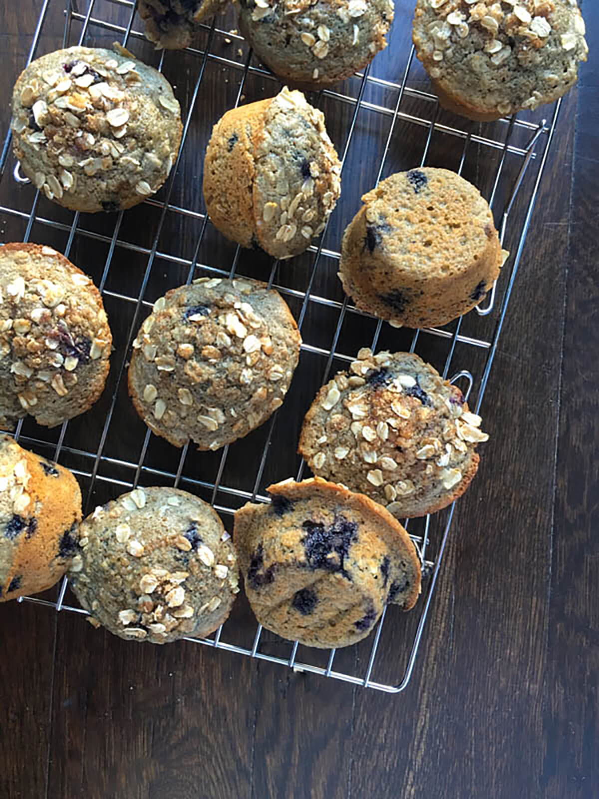 Blueberry Oatmeal Muffins on a cooling rack