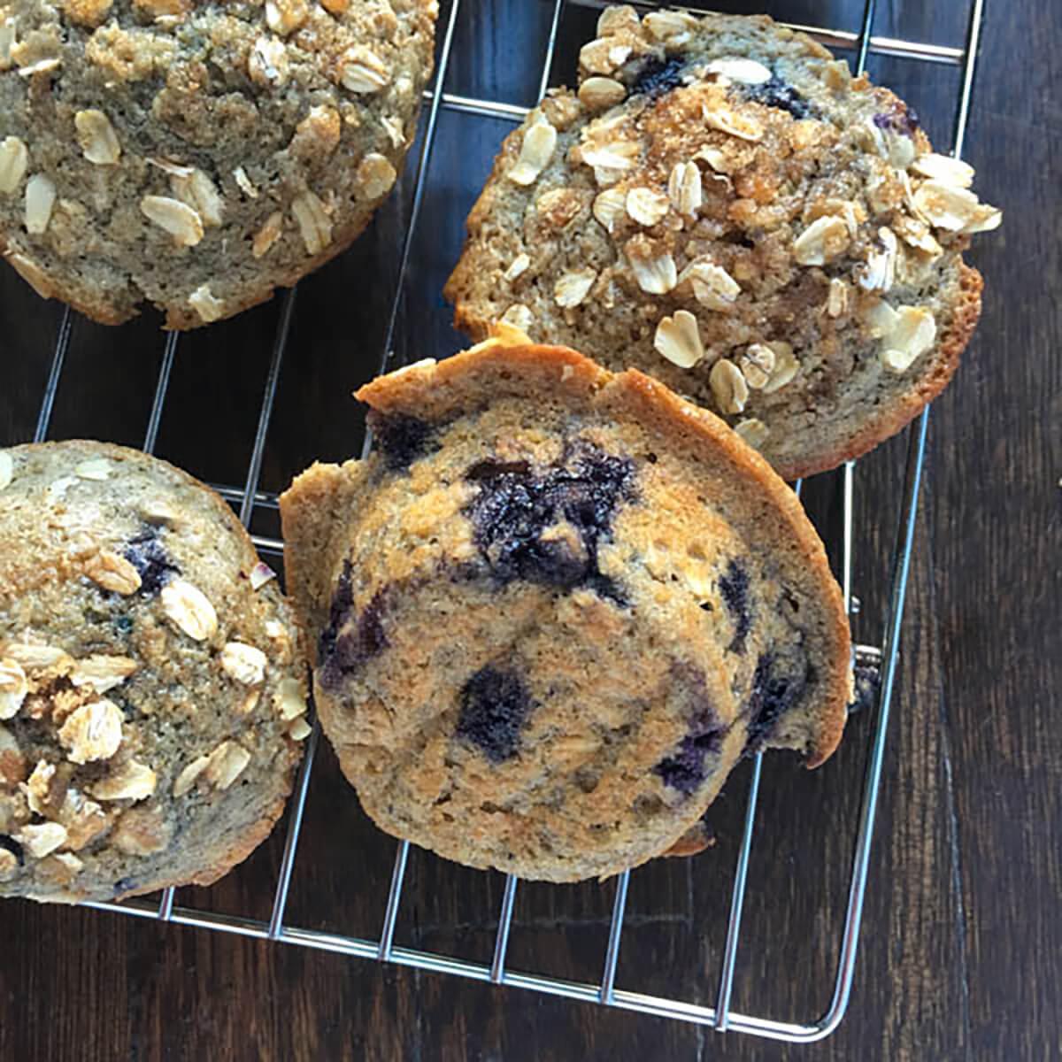 Blueberry Oatmeal Yogurt Muffins
