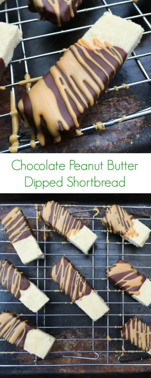Chocolate Peanut Butter Dipped Shortbread - Holiday baking never looked so good! This easy cookie recipe will leave you wanting more - The Lemon Bowl
