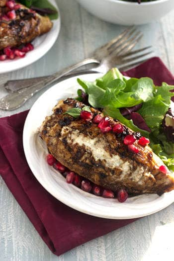 Goat Cheese Stuffed Pomegranate Chicken with Basalmic Reduction - Food Faith Fitness