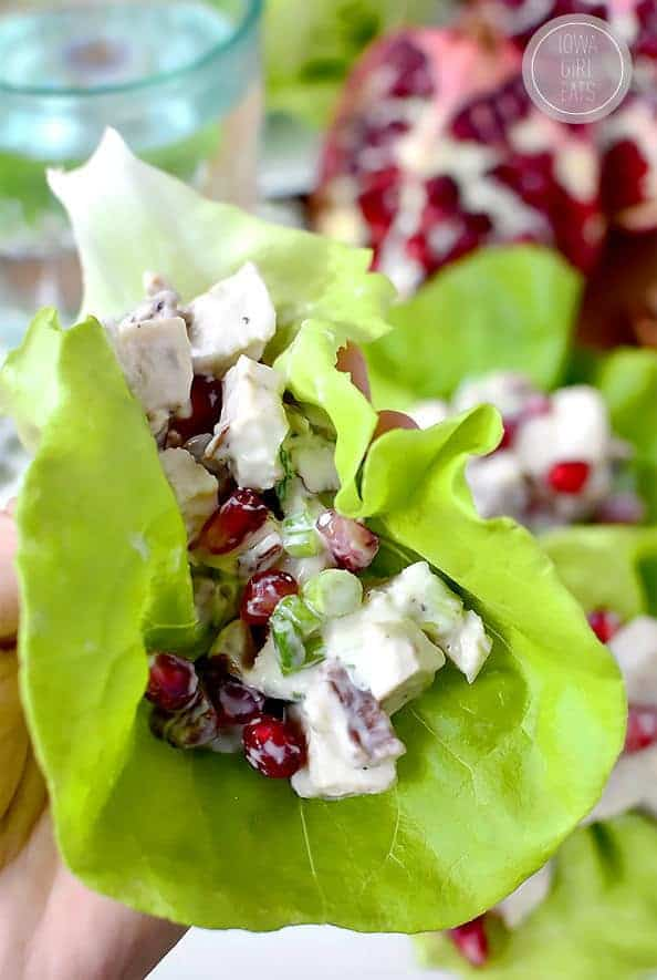 Healthy Pomegranate Chicken Salad Lettuce Wraps - Iowa Girl Eats