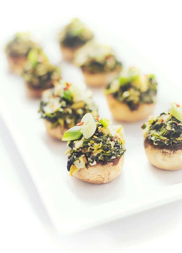 Spinach and Artichoke Stuffed Mushroom Caps - A quick and easy party appetizer recipe