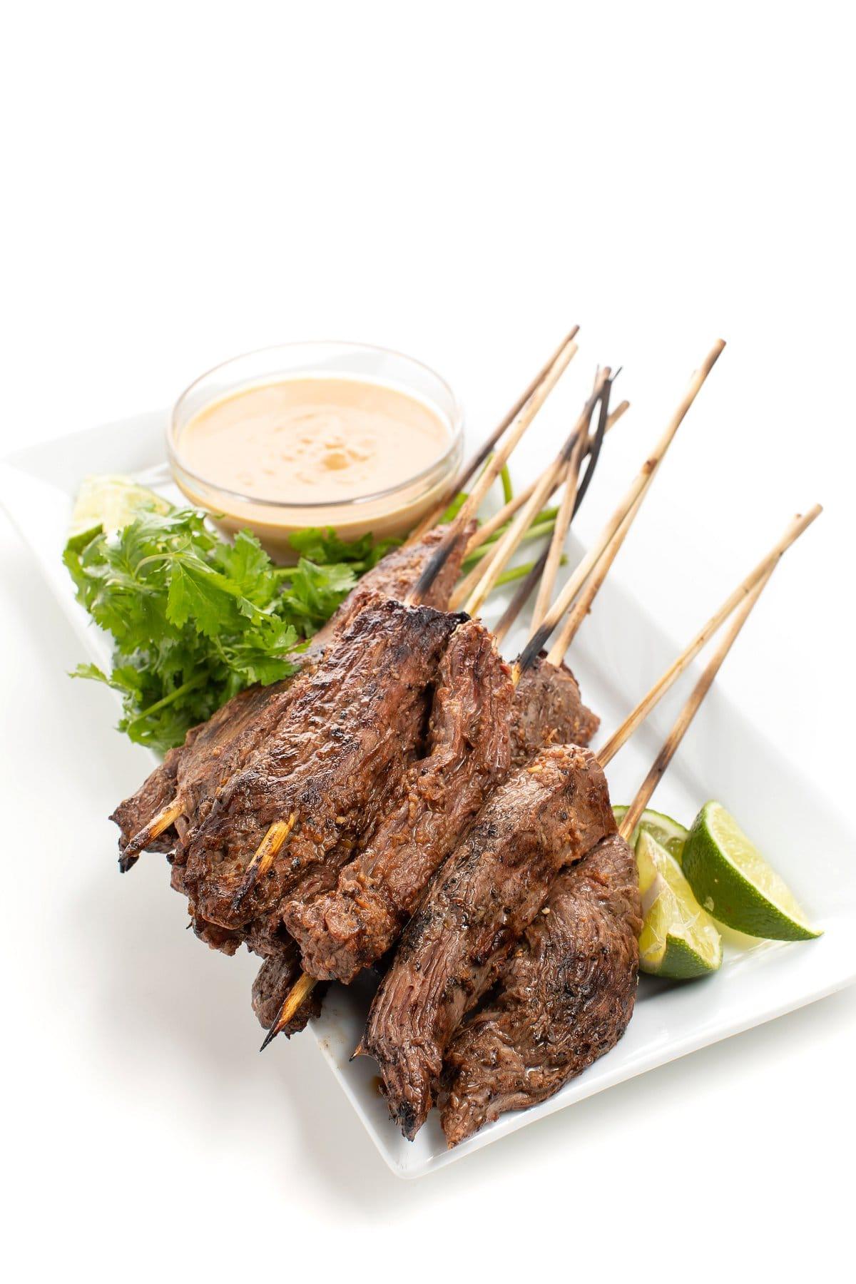 Beef Satay Skewers on Plate