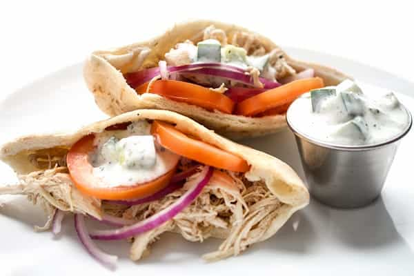 Chicken Shawarma Pitas with Cucumber Sauce - a healthy slow cooker chicken recipe