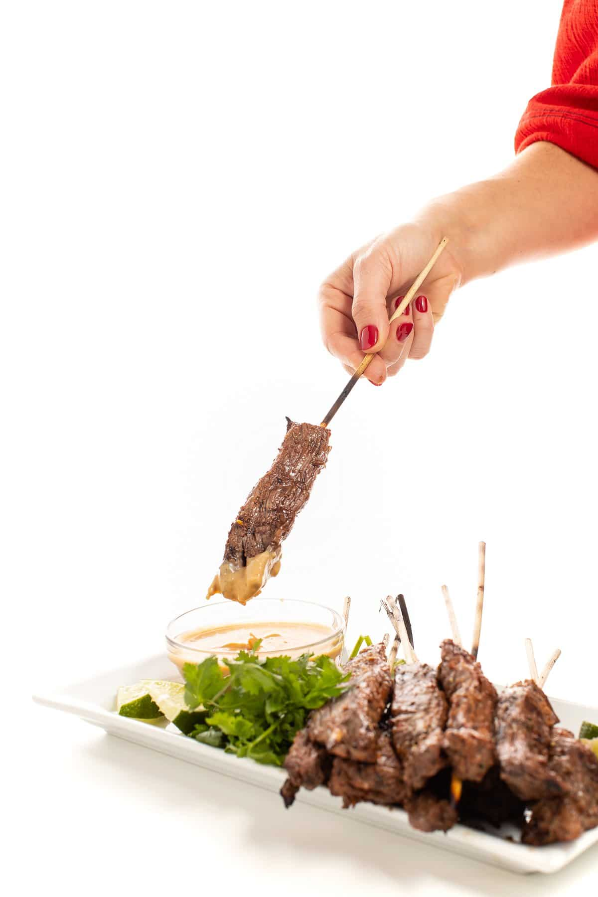 Beef satay skewers with peanut dipping sauce