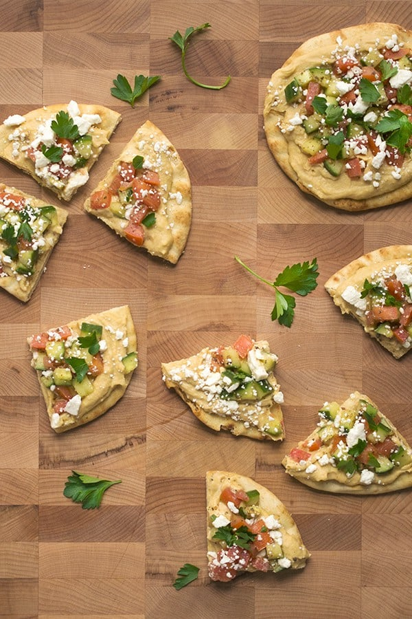 Hummus Flatbread Pizzas with Fattoush Topping - a healthy appetizer party recipe