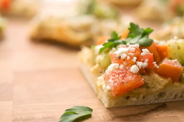 Hummus Pizzas with Fattoush and Feta - a healthy snack or appetizer recipe