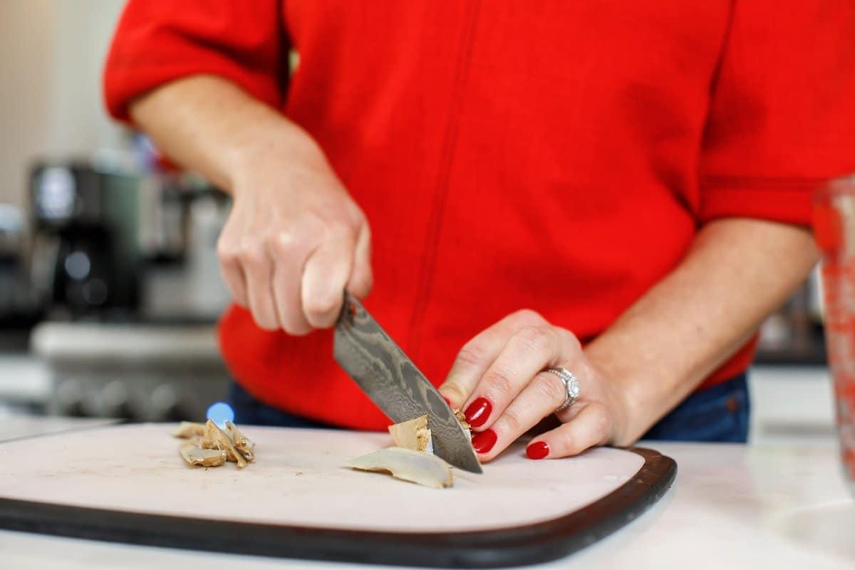 woman chopping