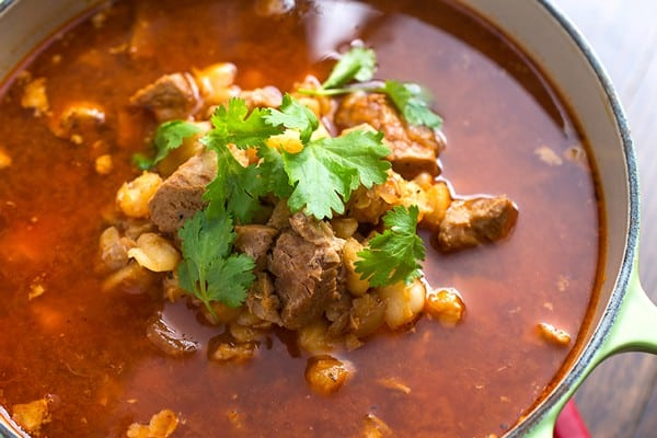 Authentic Rojo Posole Soup Recipe with Pork and Hominy
