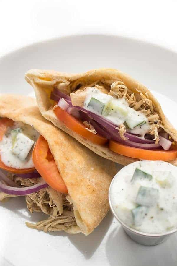 Slow Cooker Chicken Shawarma Pita Sandwiches with Cucumber Sauce