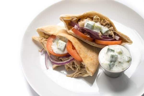 Slow Cooker Chicken Shawarma Pitas with Cucumber Sauce - a fast and healthy slow cooker chicken recipe