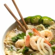 Wonton Soup with Shrimp and Rice Noodles - a fast 10 minute Asian soup recipe