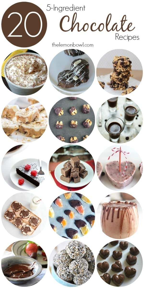 20 Five Ingredient Chocolate Recipes for Valentines Day - The best desserts and snacks for your favorite holiday! - The Lemon Bowl