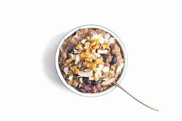 5-Ingredient Blueberry Muffin Oatmeal Bowl with Shredded Coconut - a healthy, gluten free breakfast recipe
