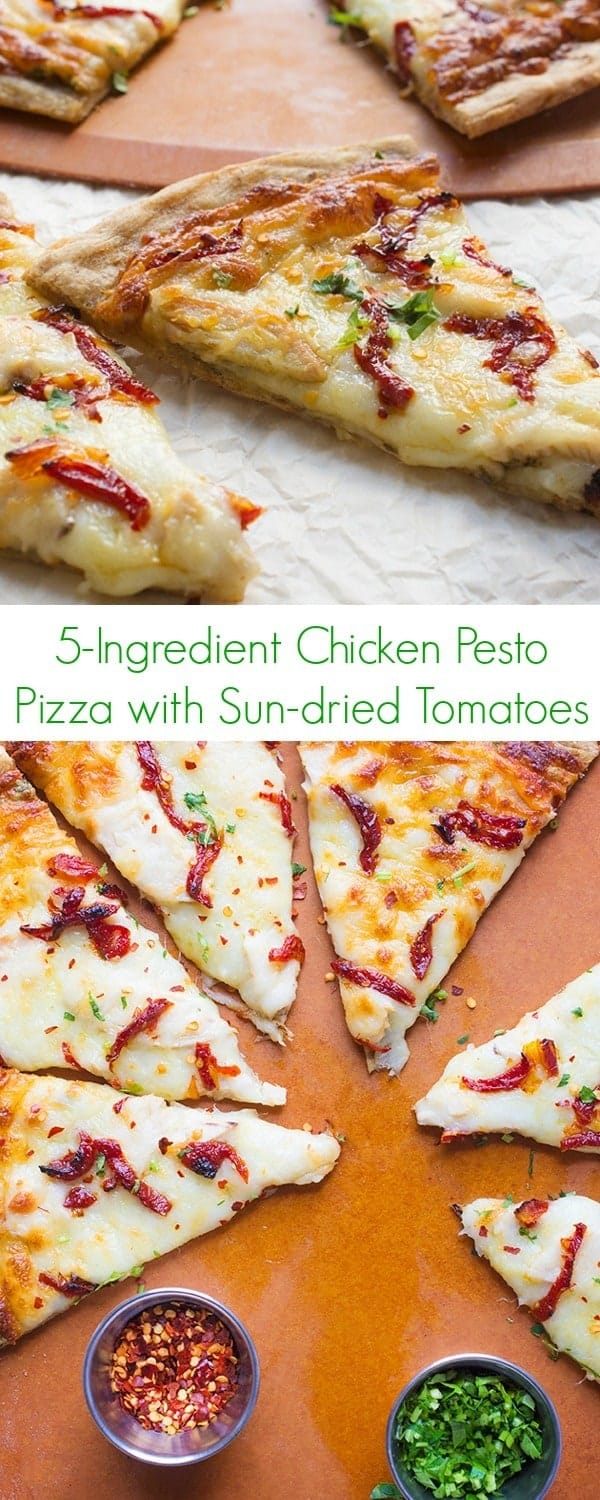 5-Ingredient Chicken Pesto Pizza with Sun-dried Tomatoes Recipe - Lunch and dinner have never been easier with this fast, easy, and healthy comfort food! - The Lemon Bowl
