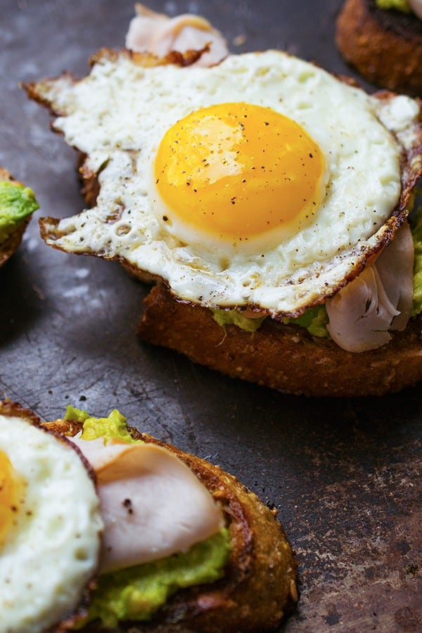 Avocado Toast with Fried Egg and Turkey - a healthy protein-packed breakfast or lunch recipe