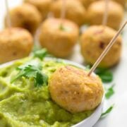 Baked Turkey Guacamole Meatballs with Chipotle Peppers - a quick and easy party appetizer recipe