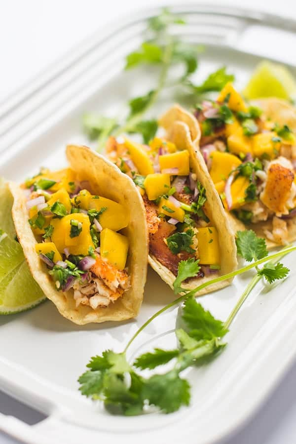 Fish Tacos with Mango Salsa - a healthy and fast seafood recipe