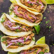Shredde Pork Tacos with Pickled Onions - the best Mexican taco recipe