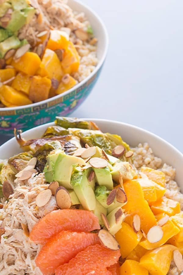 Chicken Grain Bowls with Avocado and Roasted Veggies - a healthy lunch recipe