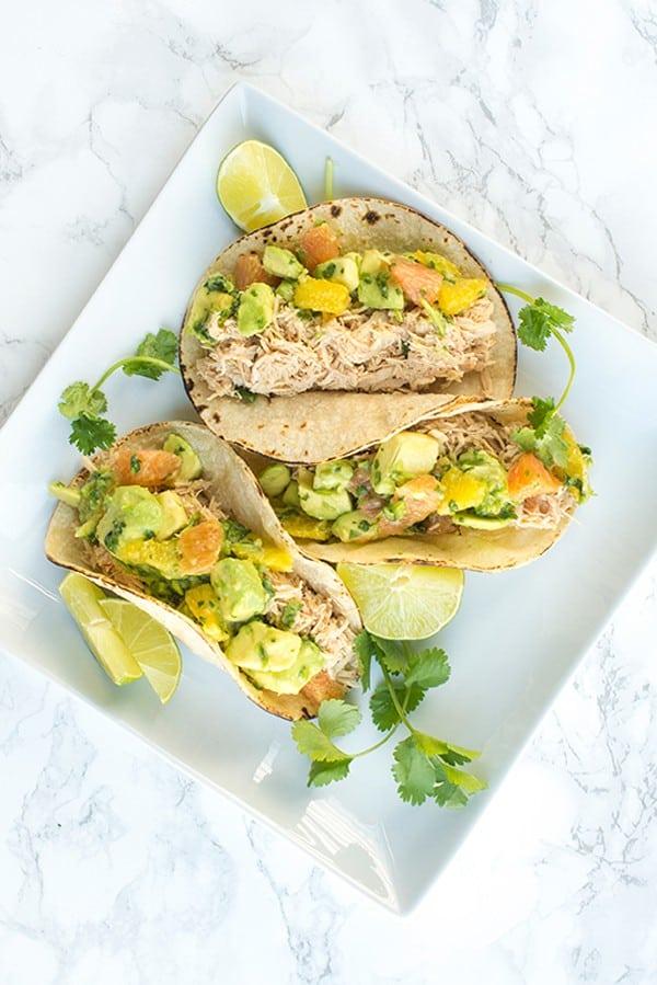 Chicken Tacos with Avocado Citrus Salsa - a fast taco recipe