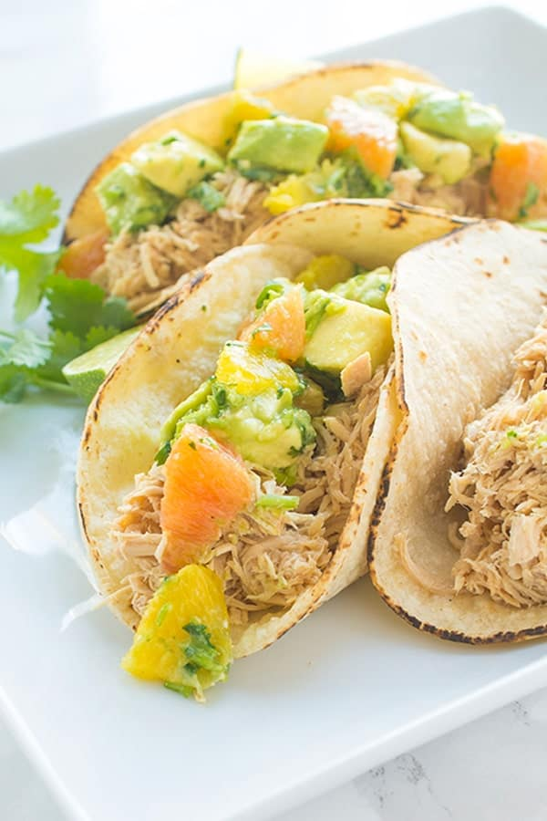 Chicken Tacos with Avocado Orange Salsa - a quick and easy taco recipe